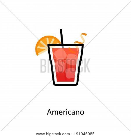 Americano cocktail icon in flat style. Vector illustration