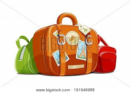 Suitcase and bag for travel with stickers. Touristic baggage. Vintage leather case. Vacation accessory Isolated white background. Vector illustration.