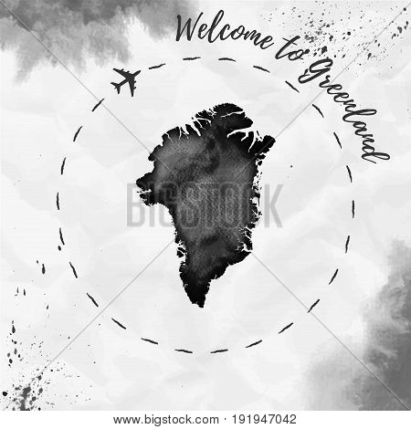 Greenland Watercolor Map In Black Colors. Welcome To Greenland Poster With Airplane Trace And Handpa
