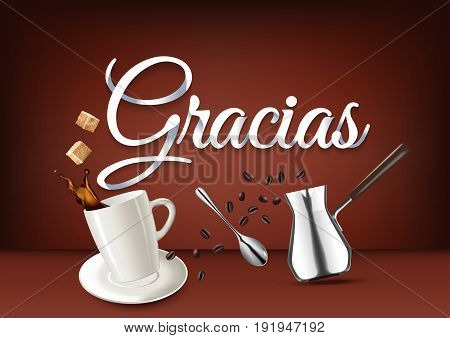Gracias paper hand lettering calligraphy. Vector illustration with coffee objects and text.