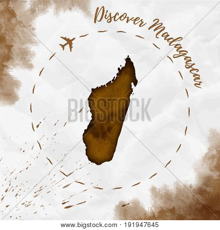 Madagascar Watercolor Map In Sepia Colors. Discover Madagascar Poster With Airplane Trace And Handpa