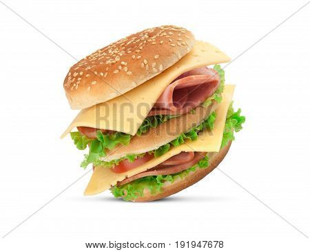 Sandwich With Vegetables, Bread And Ham, Isolated