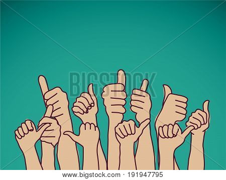 like hands sign and sky. olor vector illustration. EPS8