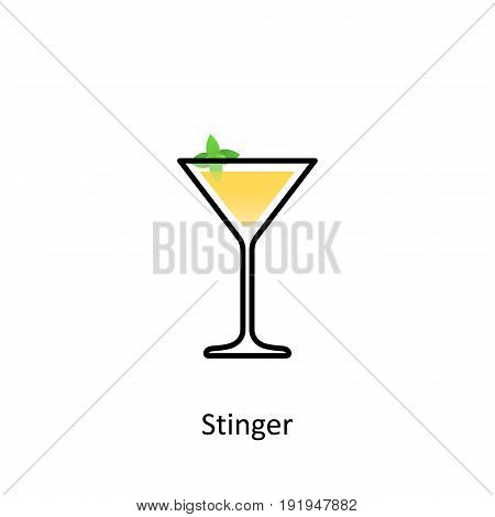 Stinger cocktail icon in flat style. Vector illustration