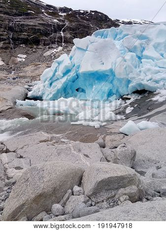 view of glacier. Amazing landscape of Norway with copy space