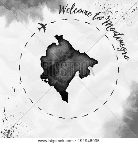 Montenegro Watercolor Map In Black Colors. Welcome To Montenegro Poster With Airplane Trace And Hand