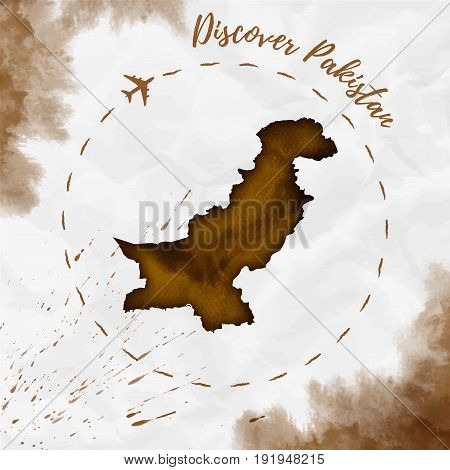Pakistan Watercolor Map In Sepia Colors. Discover Pakistan Poster With Airplane Trace And Handpainte