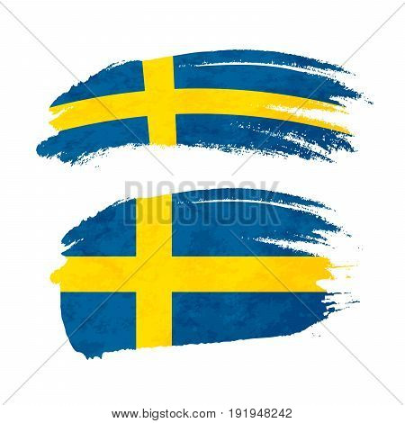 Grunge brush stroke with Sweden national flag isolated on white