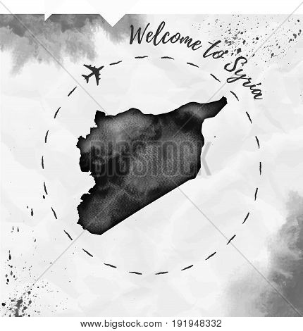 Syria Watercolor Map In Black Colors. Welcome To Syria Poster With Airplane Trace And Handpainted Wa