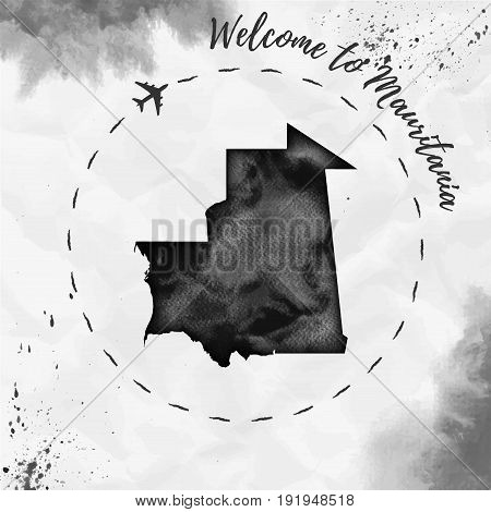Mauritania Watercolor Map In Black Colors. Welcome To Mauritania Poster With Airplane Trace And Hand