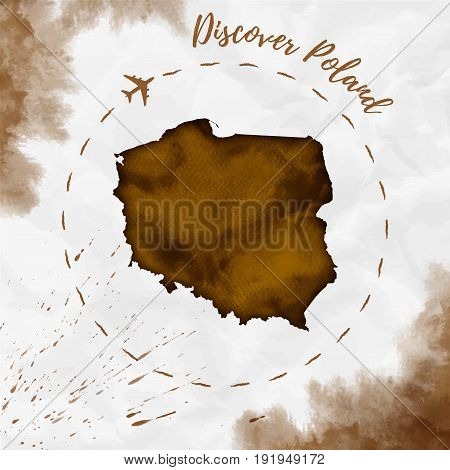 Poland Watercolor Map In Sepia Colors. Discover Poland Poster With Airplane Trace And Handpainted Wa