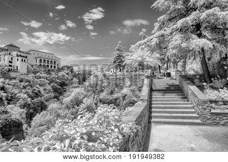 Walkway allowing great views of the El Tajo gorge in Ronda Spain