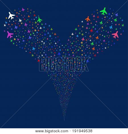 Air Plane fireworks stream. Vector illustration style is flat bright multicolored iconic air plane symbols on a blue background. Object fountain combined from random pictographs.