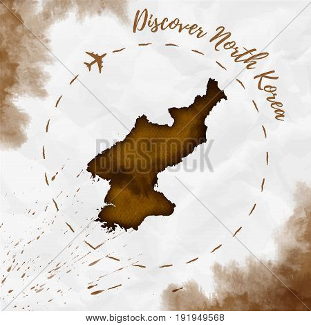North Korea Watercolor Map In Sepia Colors. Discover North Korea Poster With Airplane Trace And Hand
