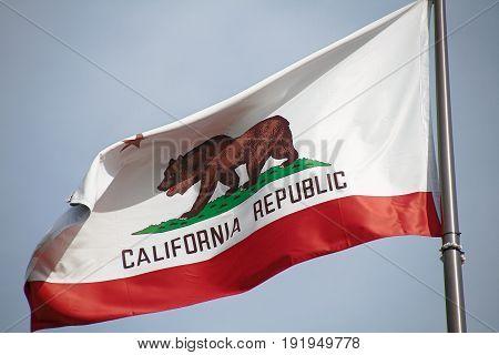 Osaka, JAPAN - Apr 12, 2017: close up of California state flag in Universal Studios JAPAN.