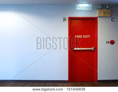 Fire Exit Emergency Door Red Color Metal Material.