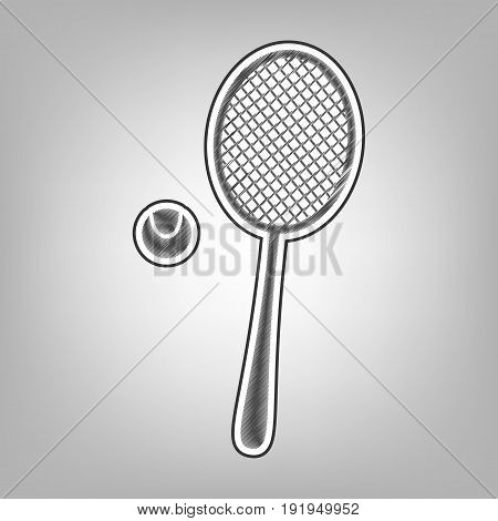 Tennis racquet with ball sign. Vector. Pencil sketch imitation. Dark gray scribble icon with dark gray outer contour at gray background.
