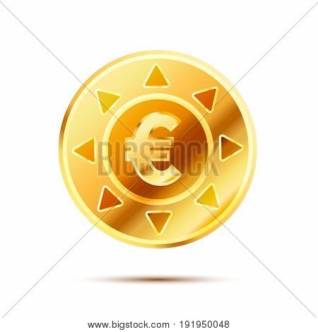 Bright glossy golden coin with euro sign isolated on white
