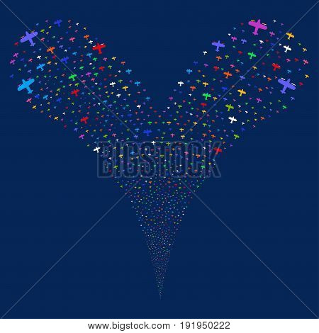 Aircraft fireworks stream. Vector illustration style is flat bright multicolored iconic aircraft symbols on a blue background. Object fountain organized from random design elements.