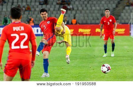 CLUJ-NAPOCA, ROMANIA - 13 JUNE 2017: Chile's Francisco Silva (L) in action during the Romania vs Chile friendly, Cluj-Napoca, Romania - 13 June 2017