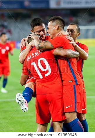 CLUJ-NAPOCA, ROMANIA - 13 JUNE 2017: Chile's players celebrate during the Romania vs Chile friendly, Cluj-Napoca, Romania - 13 June 2017