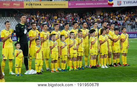 CLUJ-NAPOCA, ROMANIA - 13 JUNE 2017: Romania's national football team posing ahead of Romania vs Chile friendly, Cluj-Napoca, Romania - 13 June 2017