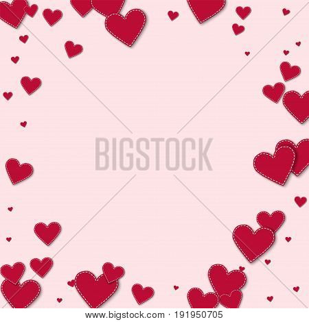 Red Stitched Paper Hearts. Bordered Frame With Red Stitched Paper Hearts On Light Pink Background. V