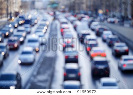 Defocused photo of city roads with cars