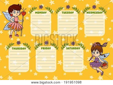School Timetable For Children With Days Of Week. Cartoon Characters Of Fairies