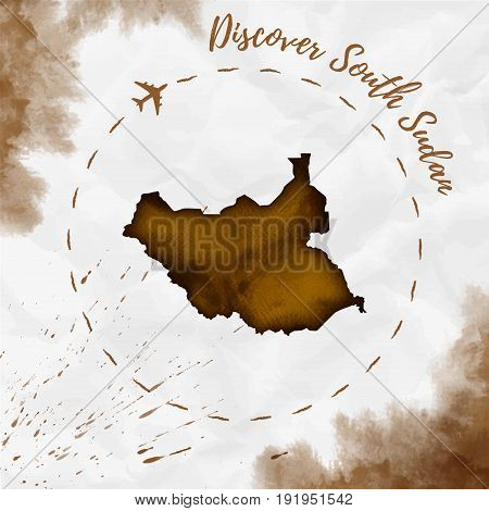 South Sudan Watercolor Map In Sepia Colors. Discover South Sudan Poster With Airplane Trace And Hand