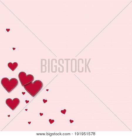 Red Stitched Paper Hearts. Bottom Left Corner On Light Pink Background. Vector Illustration.
