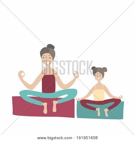 Mother and daughter practicing yoga sitting in the Lotus position. Family Sports and physical activity with children, joint active recreation. Vector illustration in flat style, isolated on white.