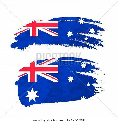 Grunge brush stroke with Australian national flag isolated on white