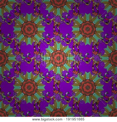 Arabic Mandala pattern on a colorful background. Orient symmetry lace fabric. Colored. Wedding holiday card. East Islam Indian motifs. Ethnic texture. Vintage vector decorative ornament.