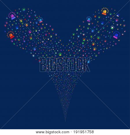 Alarm source stream. Vector illustration style is flat bright multicolored iconic alarm symbols on a blue background. Object fountain made from random symbols.