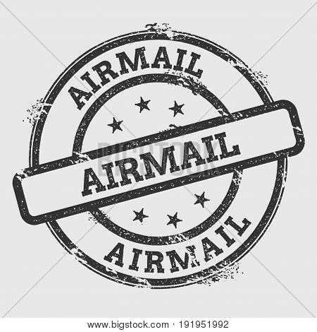 Airmail Rubber Stamp Isolated On White Background. Grunge Round Seal With Text, Ink Texture And Spla