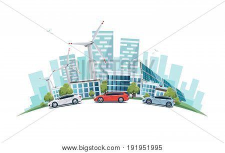Vector illustration of modern sustainable city with cars on street in cartoon style arranged in arc. Solar panels and wind turbines with city skyscrapers building office skyline on white background. Eco green city theme.