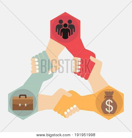 Partnership flat design business friendship image
