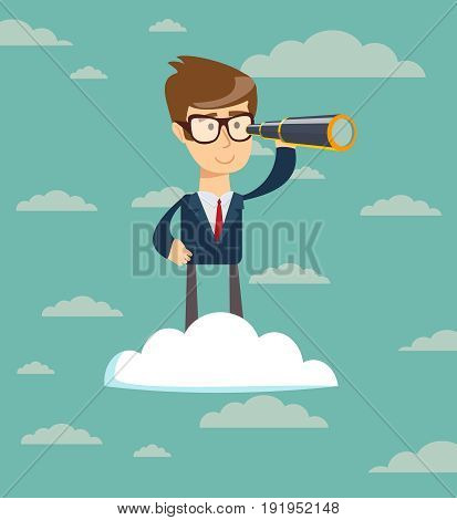 successful businessman with telescope on cloud . Business Vision Concept.