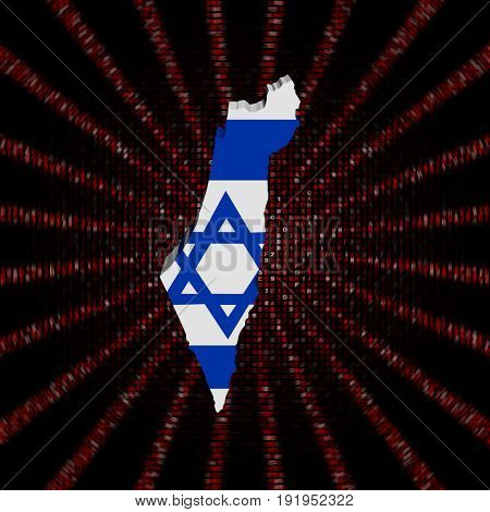 Israel map flag on red hex code burst 3d illustration