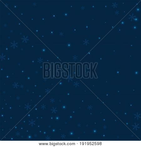 Sparse Glowing Snow. Abstract Pattern On Deep Blue Background. Vector Illustration.
