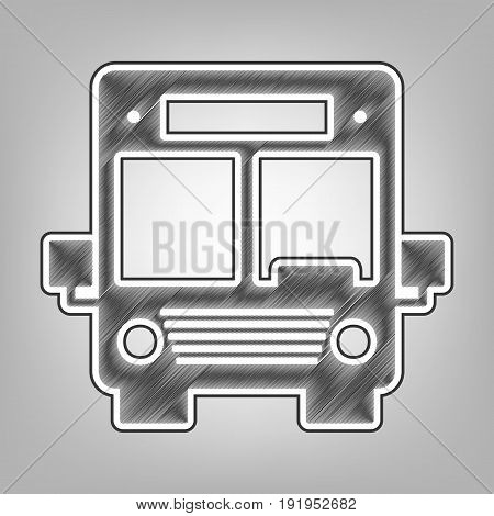Bus sign illustration. Vector. Pencil sketch imitation. Dark gray scribble icon with dark gray outer contour at gray background.