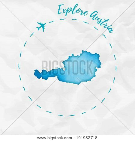 Austria Watercolor Map In Turquoise Colors. Explore Austria Poster With Airplane Trace And Handpaint