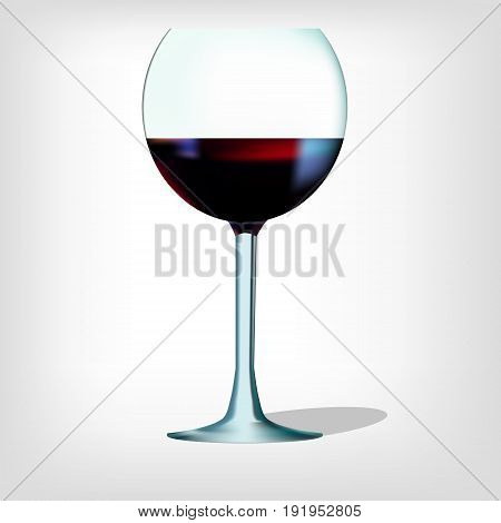 Realistic wineglass and red wine vector illustration