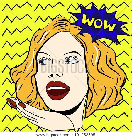 Woman says Wow woman. Surprised woman. Pop art girl. Wow emotion.
