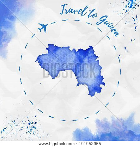 Guinea Watercolor Map In Blue Colors. Travel To Guinea Poster With Airplane Trace And Handpainted Wa