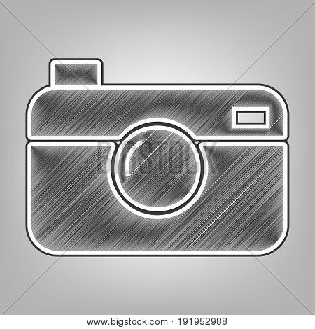 Digital photo camera sign. Vector. Pencil sketch imitation. Dark gray scribble icon with dark gray outer contour at gray background.