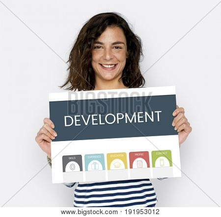 Woman holding banner graphic development illustration