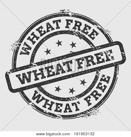 Wheat Free Rubber Stamp Isolated On White Background. Grunge Round Seal With Text, Ink Texture And S