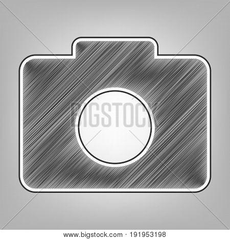 Digital camera sign. Vector. Pencil sketch imitation. Dark gray scribble icon with dark gray outer contour at gray background.